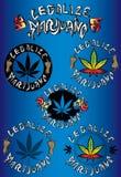 Légalisez les timbres sales de conception de cannabis de marijuana Photos stock