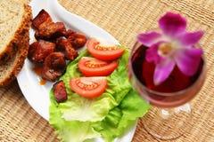 Léger déjeuner - viande Photographie stock libre de droits