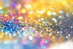 Or léger d'or abstrait de fond de Bokeh Photo stock