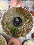 Légume, boeuf et porc de Hotpot Photos stock