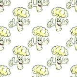 Légume cartooned sans couture de chou-fleur Photo libre de droits