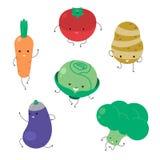 Légume de bande dessinée Collection végétale drôle d'icône de visage D'isolement sur l'illustration blanche de vecteur de fond Photos stock