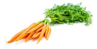 Légume de carotte avec des feuilles d'isolement sur le coupe-circuit blanc de fond image libre de droits