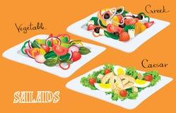 Légume, Grec, Caesar Salads Photographie stock