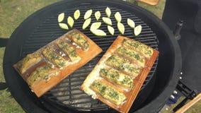 Légume grillé de poissons et de courgette sur le plan rapproché de gril clips vidéos