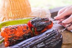 Légume grillé sur une casserole de gril Femme tenant une brochette avec les légumes grillés au-dessus d'une planche en bois Photographie stock