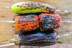 Légume grillé sur une casserole de gril, vue supérieure Photographie stock