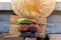 Légume grillé sur une casserole de gril, vue supérieure Image stock