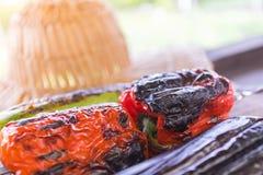 Légume grillé sur une casserole de gril, vue supérieure Image libre de droits