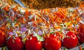 Légumes découpés en tranches décorés Photographie stock