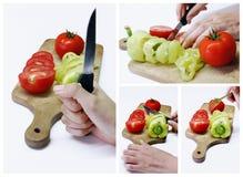 Légumes découpés en tranches sur le panneau en bois Photos stock