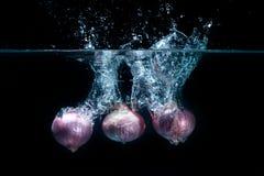 Légumes d'échalotes, laissés tomber dans l'eau douce Photos libres de droits