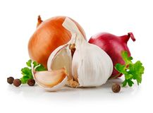 Légumes d'ail et d'oignon avec l'épice de persil photographie stock libre de droits