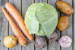 Légumes d'hiver pour la soupe ukrainienne à tomate Photographie stock