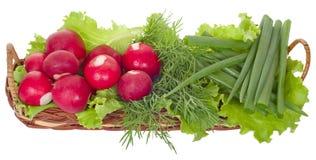 Légumes dans un panier plat Photo stock
