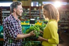 Légumes de achat de couples heureux dans la section organique Photos stock