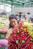Légumes de achat de jolie jeune femme sur le marché Photos libres de droits