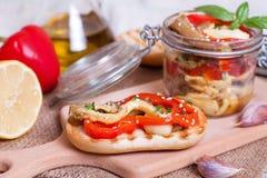 Légumes de casse-croûte sur une tranche de pain Photographie stock