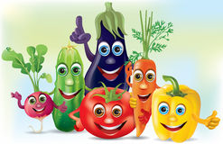 Légumes de compagnie de dessin animé Photo libre de droits