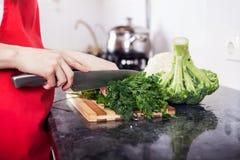 Légumes de coupe de femme photo stock