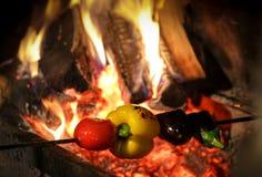 Légumes de cuisinier dans le gril photo stock