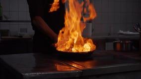 Légumes de Frying de chef sur le feu les jetant dans une poêle Mouvement lent banque de vidéos