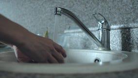Légumes de lavage femelles sous le robinet banque de vidéos