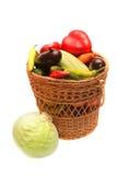 légumes de panier en bois Photo stock