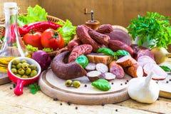 Légumes de produits carnés traités par variété Photo libre de droits