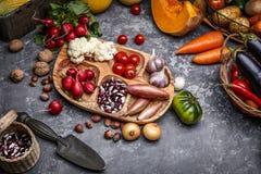 Légumes de récolte avec le potager d'herbe photos stock