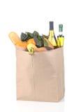 Légumes de sac d'épicerie et fruit et vin Photo stock