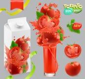 Légumes de tomate Éclaboussure de jus 3d vecteur, ensemble de design d'emballage Image libre de droits