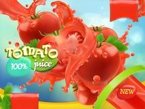 Légumes de tomate Éclaboussure de jus vecteur 3D réaliste illustration libre de droits