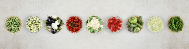 Légumes de vue supérieure de nourriture sur le plan de travail de marbre de cuisine, Web Photos stock