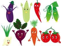 Légumes drôles de bande dessinée illustration de vecteur