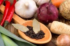 Légumes et épices Photographie stock