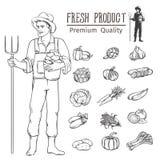 Légumes et agriculteur FO Photos stock