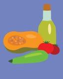 Légumes et bouteille avec de l'huile illustration libre de droits