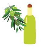 Légumes et bouteille avec de l'huile illustration de vecteur