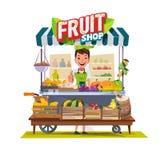 Légumes et chariot de fruits avec la conception de personnages de vendeur Chariot du marché Les chariots verts vendent seulement  illustration libre de droits