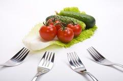 Légumes et fourchettes Photo stock