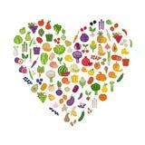 Légumes et fruits dans une forme de coeur illustration libre de droits
