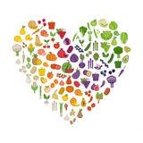 Légumes et fruits dans une forme de coeur illustration stock