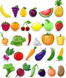 Légumes et fruits de bande dessinée illustration stock