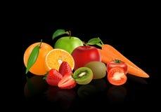 Légumes et fruits de groupe illustration stock