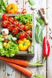 Légumes et herbes frais de ferme sur le fond rustique Image stock