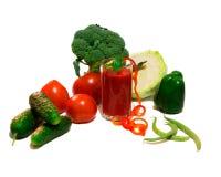 Légumes et jus de tomates Photographie stock libre de droits