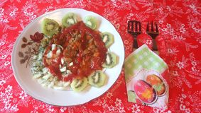 légumes et lait caillé de kiwi images libres de droits