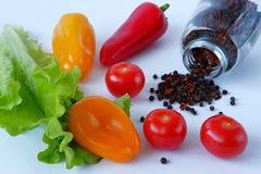 Légumes et pois de poivre Photographie stock