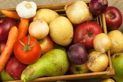 Légumes et pommes sur la table en bois Récolte d'automne à la ferme Une alimentation saine pour des enfants Image stock